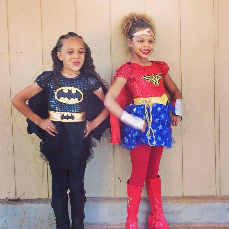 Avery as Bat Girl and Whitnee as Wonder Girl
