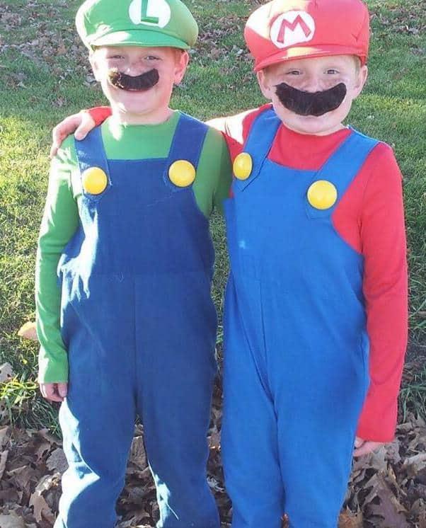 Spencer and Nolan as Mario and Luigi