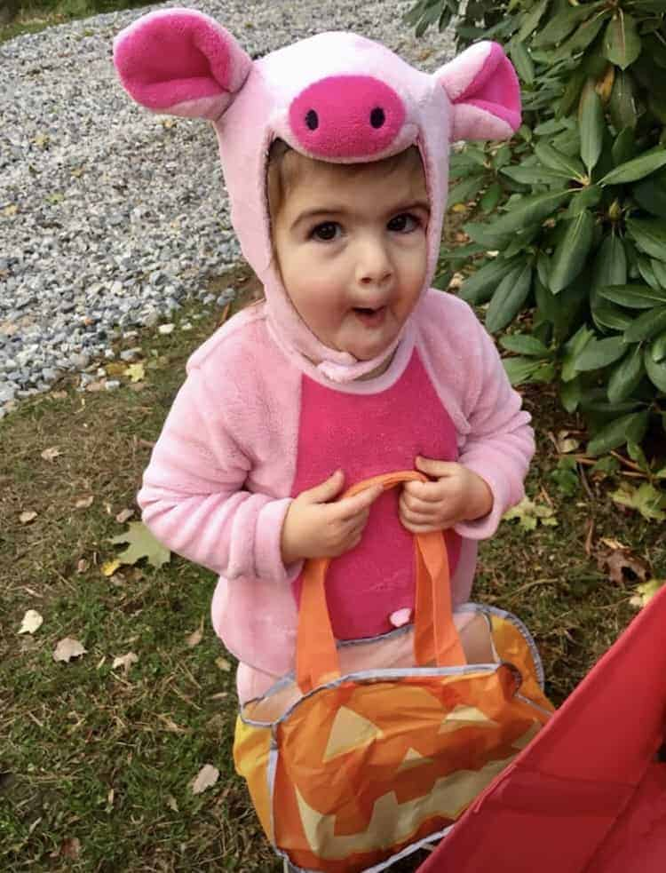 Child in piglet costume