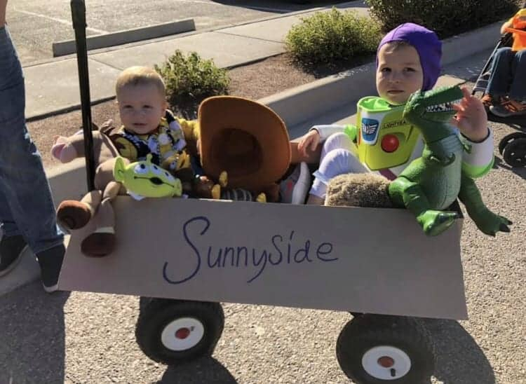 Kids in Toy Story costumes
