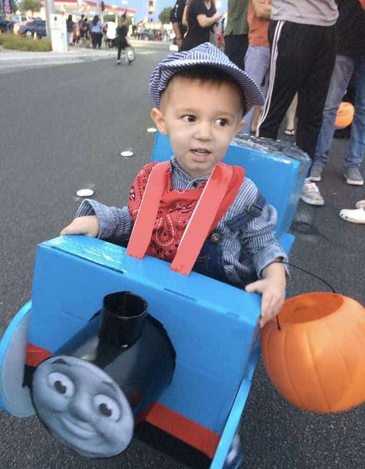 Boy in Thomas the Train costume