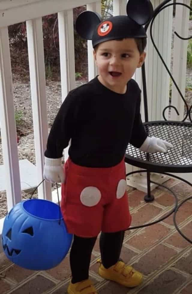 Boy in Mickey Mouse costume