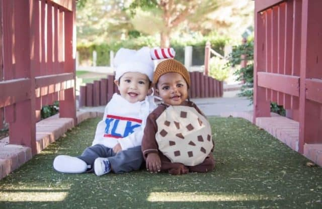 Kids in milk and cookies costume
