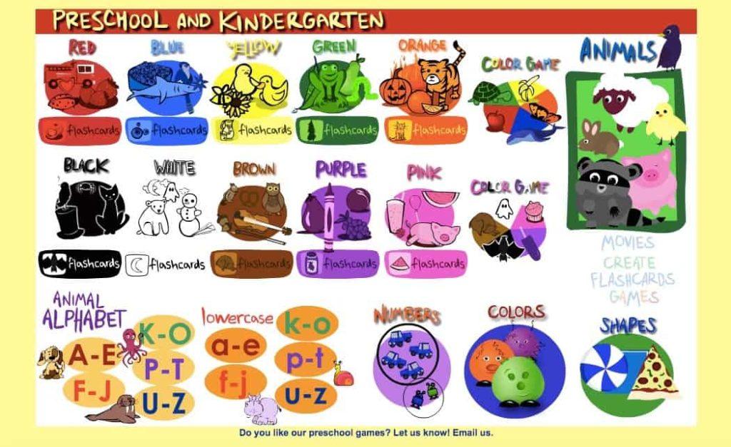 Sheppard Software Preschool and Kindergarten main page