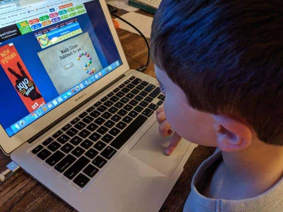 boy playing sheppard software math game