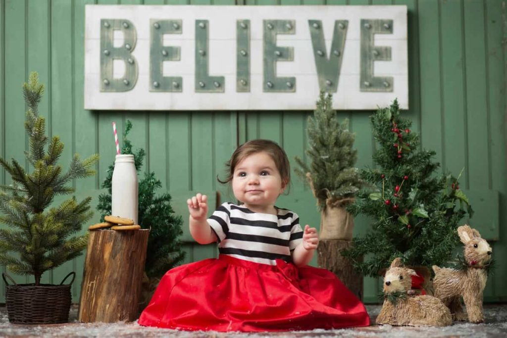 Christmas scene photo of baby