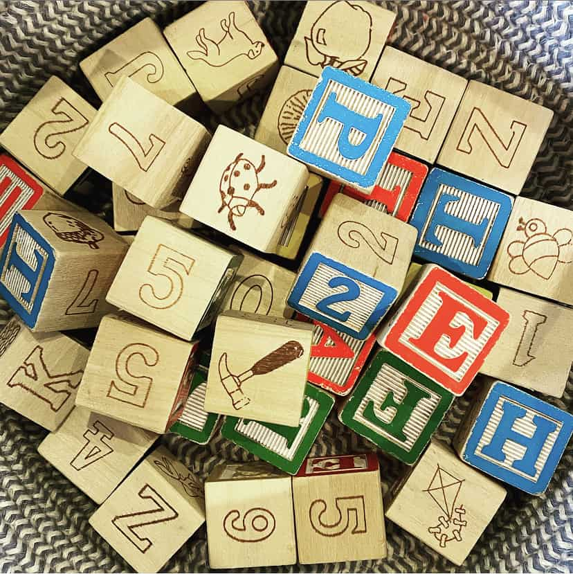 Basic toys, like this basket of blocks, are best for kids