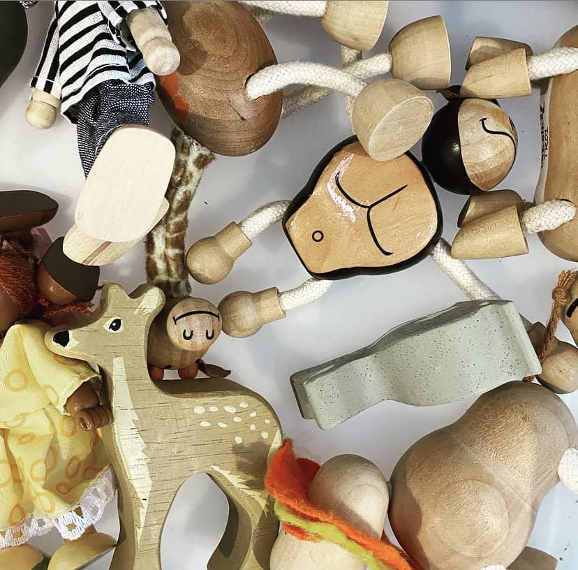 Wooden toy dolls and animals are ideal basic toys for kids