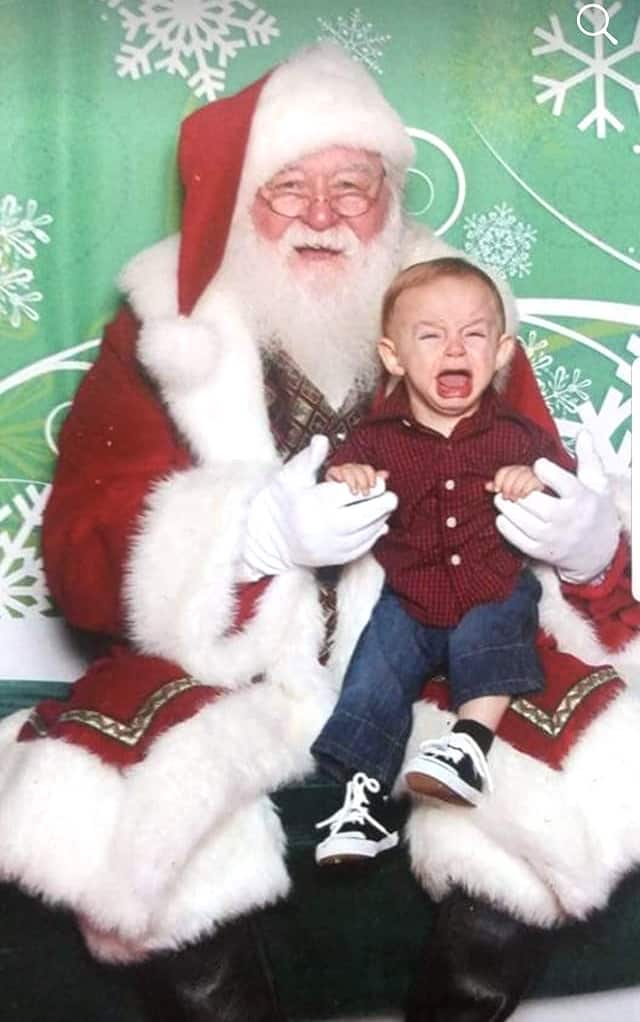 boy scared of Santa