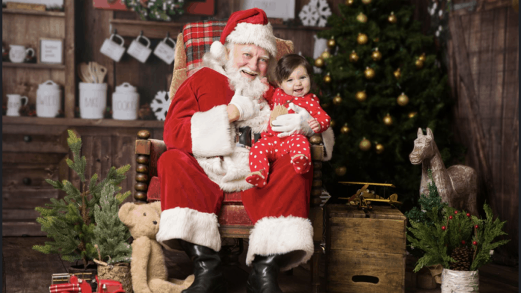 happy baby on Santa's lap
