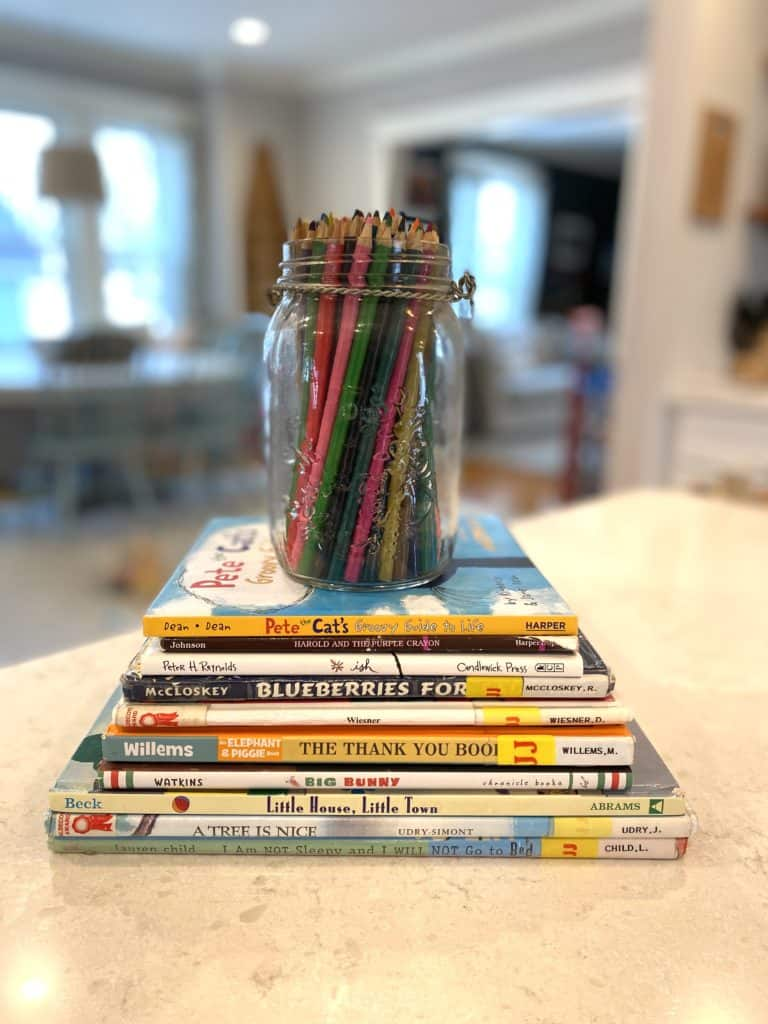 stack of children's books