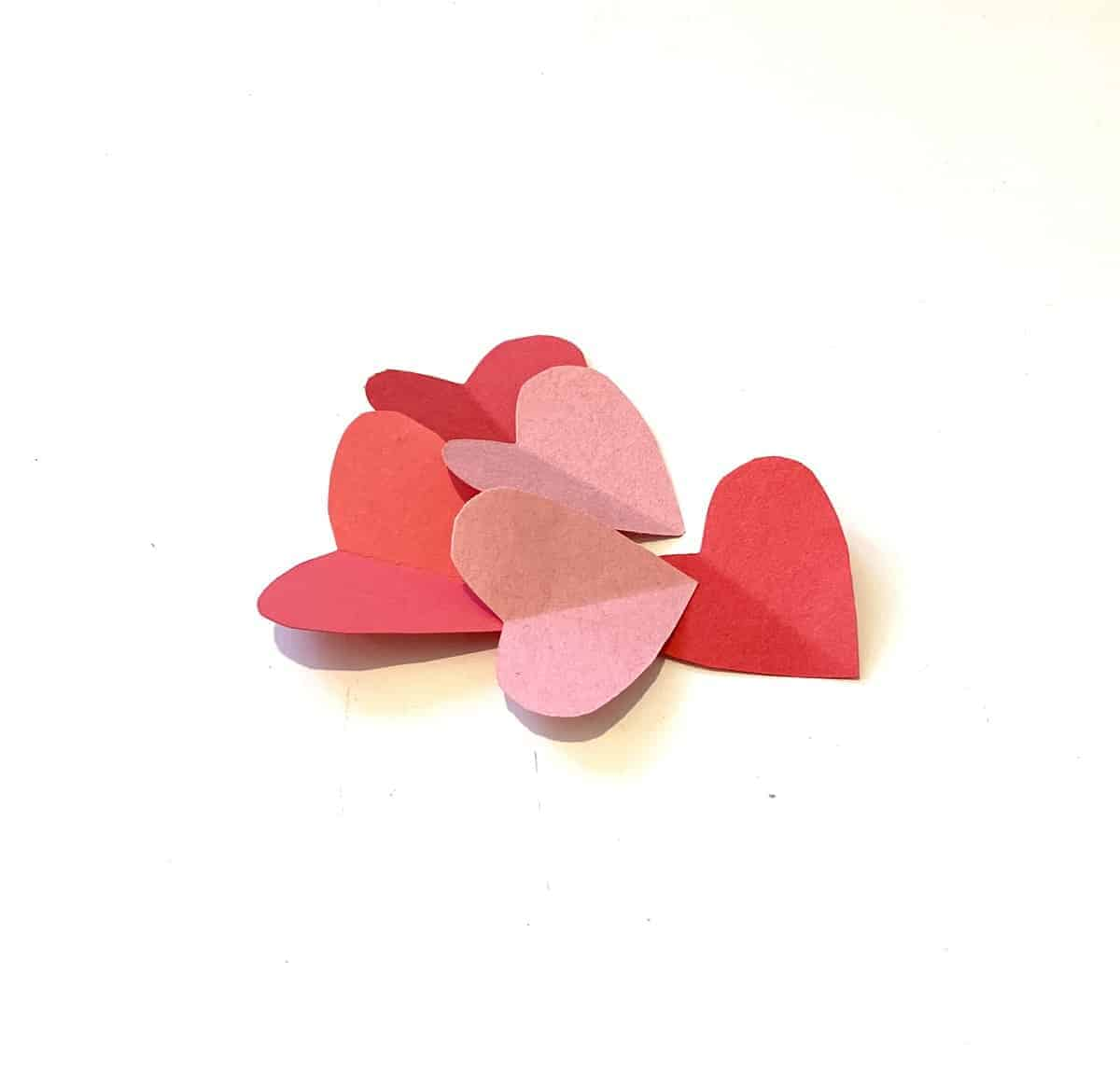 colorful paper hearts