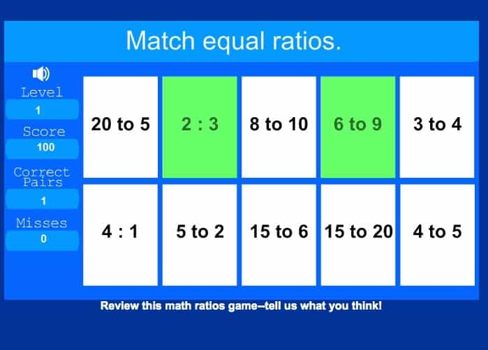 "Screen shot of Sheppard software math's ""ratios"" game."