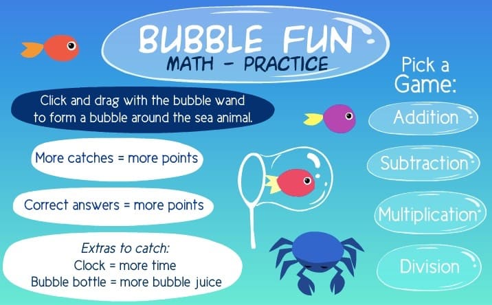 Sheppard Software's Bubble Fun Math Practive Game