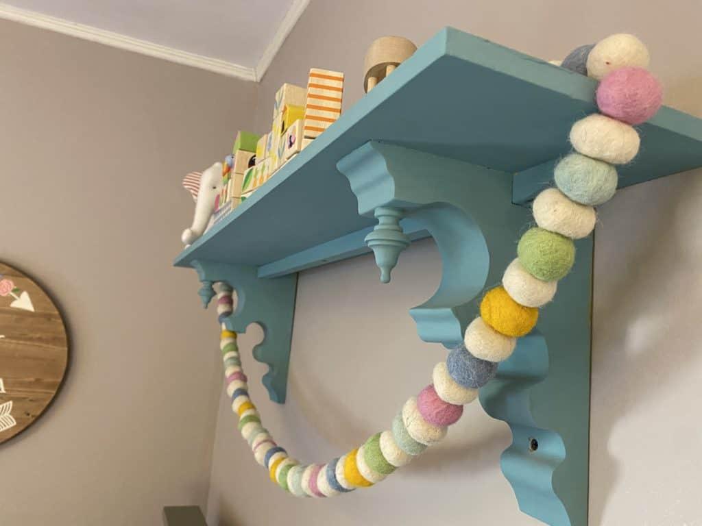 wall shelf in nursery