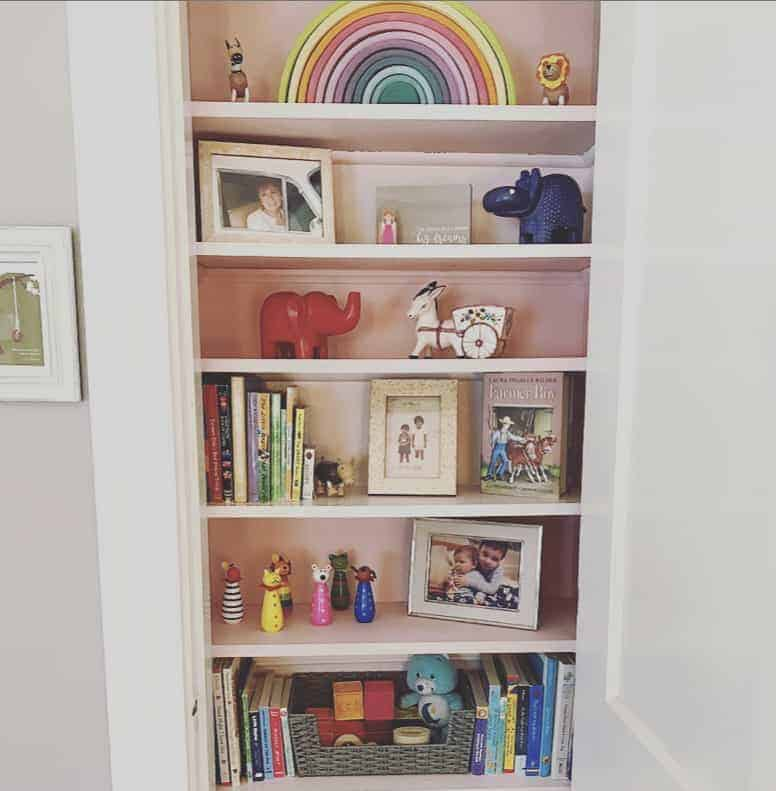 shelf of toys and books