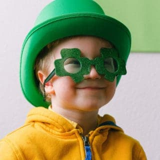 Boy in Shamrock Glasses