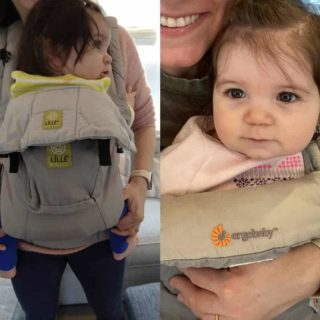 baby in LILLEbaby carrier and in Ergo 360 carrier