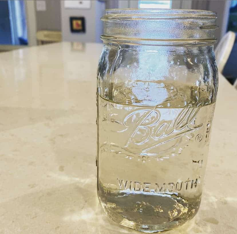 water in a jar