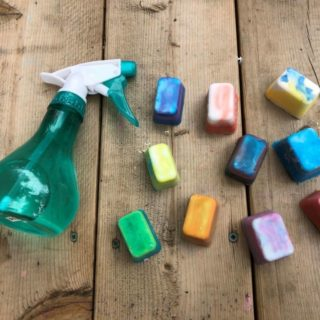 colorful ice cubes and spray bottle