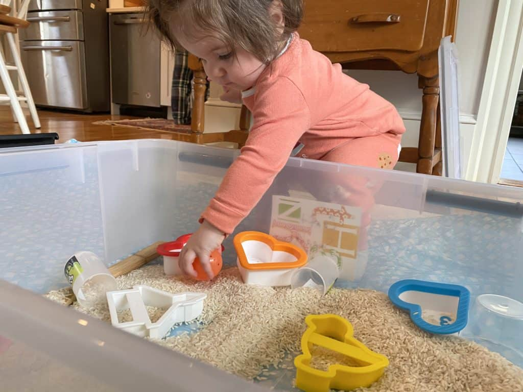 toddler girl using cookie cutter shapes to play with rice in a sensory bin