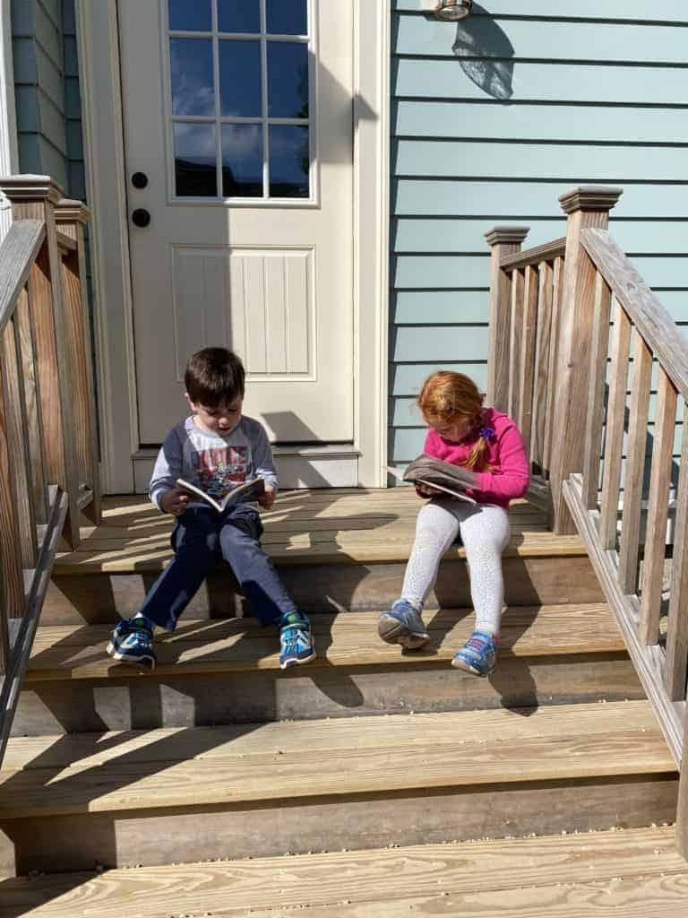 Kindergarten kids reading together