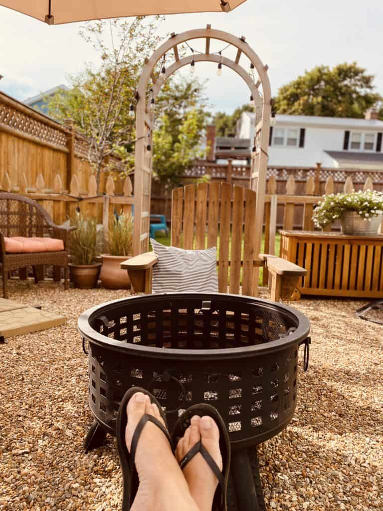 fire pit on side patio