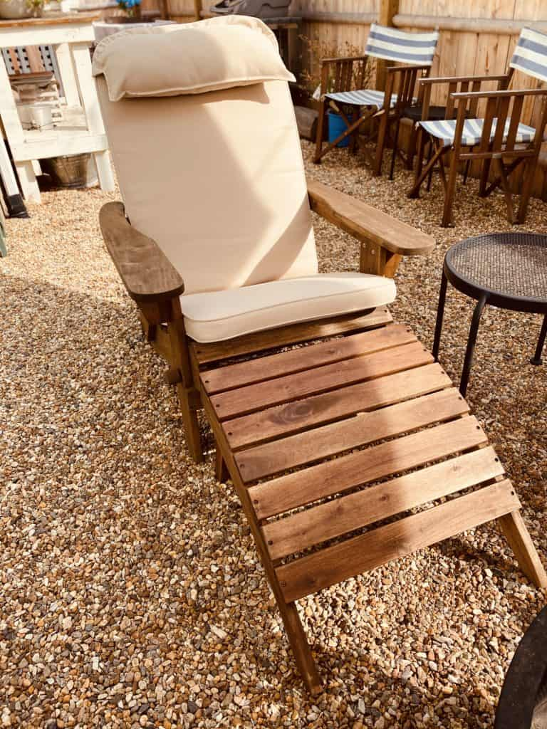 Adirondack chair with cushion and foot stool