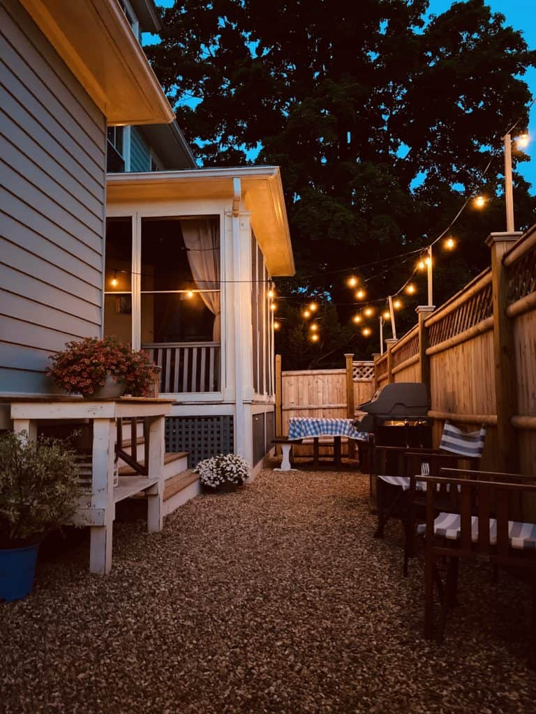 patio at night with hanging lights