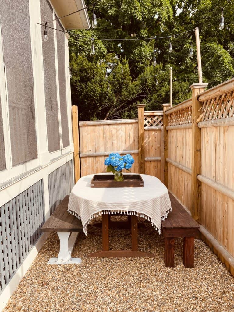small dining area on patio