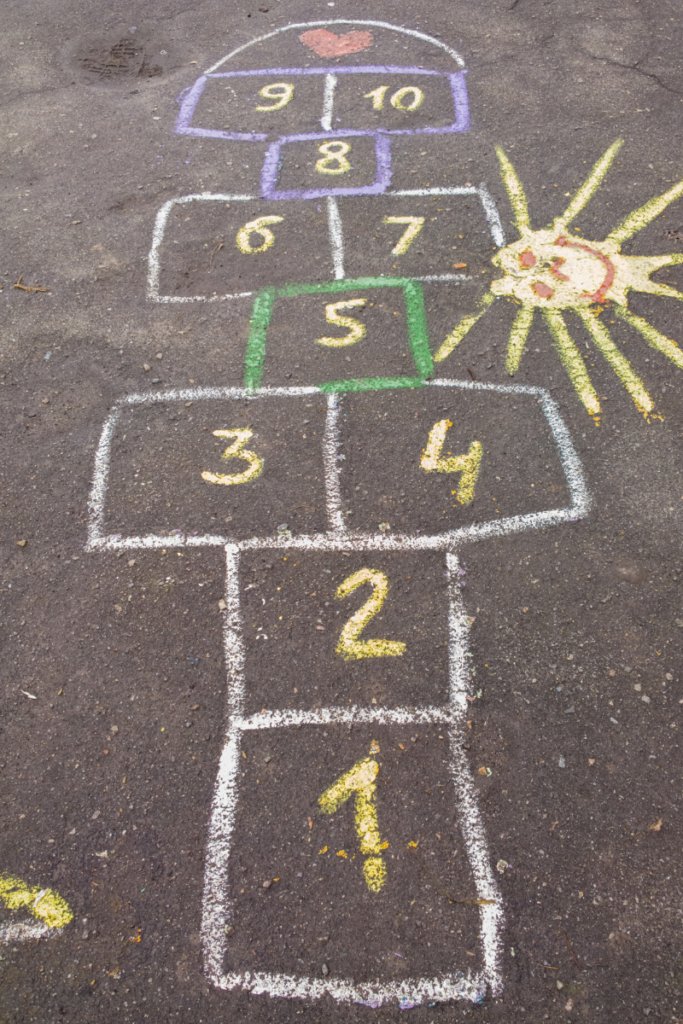 This classic hopscotch game is a great way to improve balance for toddlers.