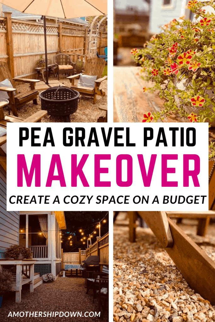pea gravel patio makeover