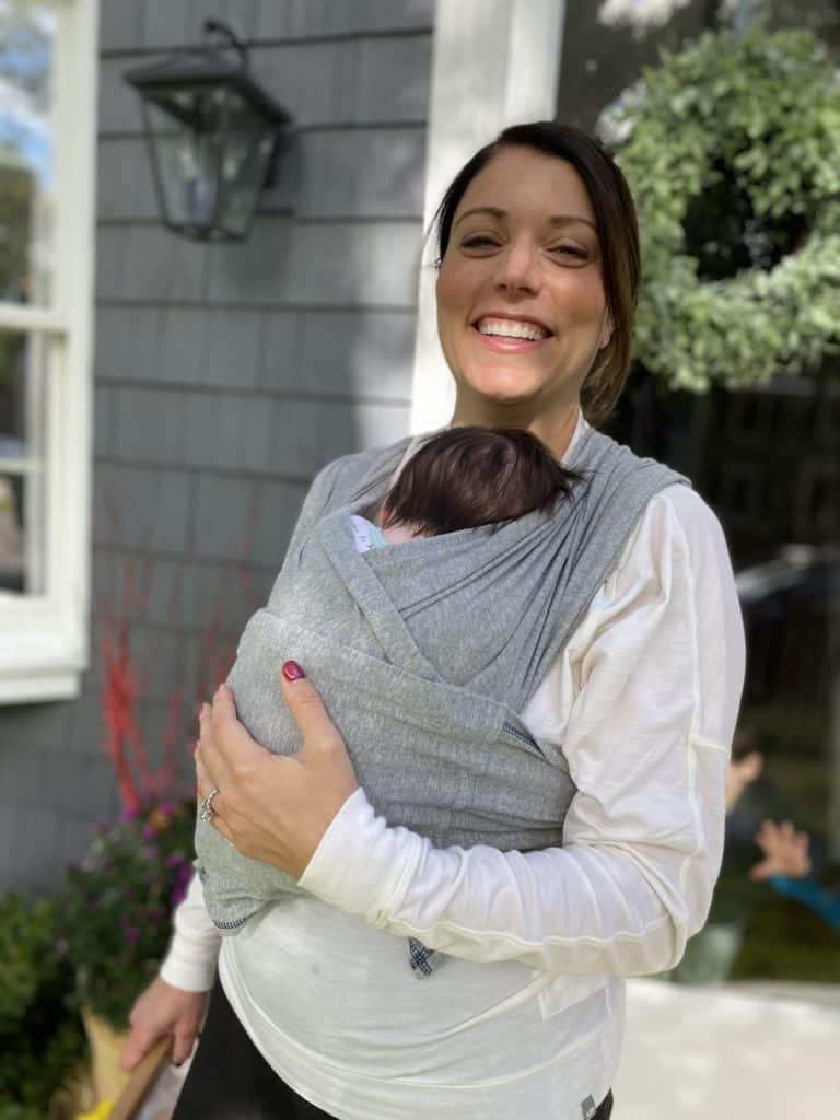 mother with infant in a Baby K'tan wrap