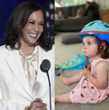little girl seeing Kamala Harris on TV