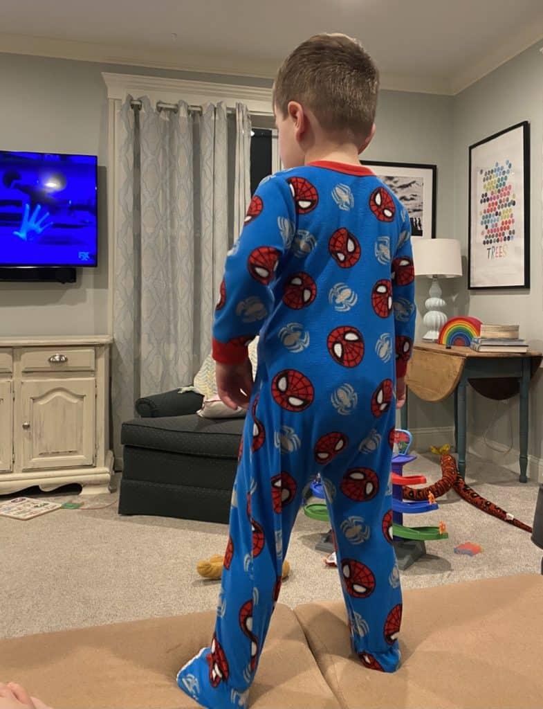 toddler in Spiderman pajamas