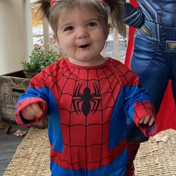 toddler dressed as Spiderman