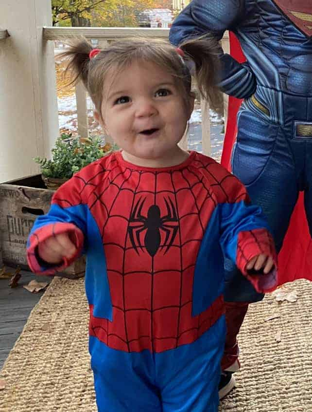 toddler dressed as Spiderman